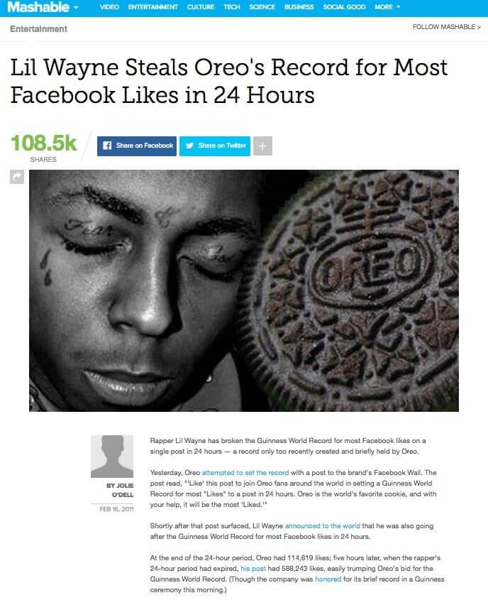 First Social Media World Record